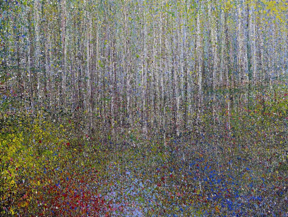 David Komander, 2014, 100x200 cm, oil/silver-varnish/canvas