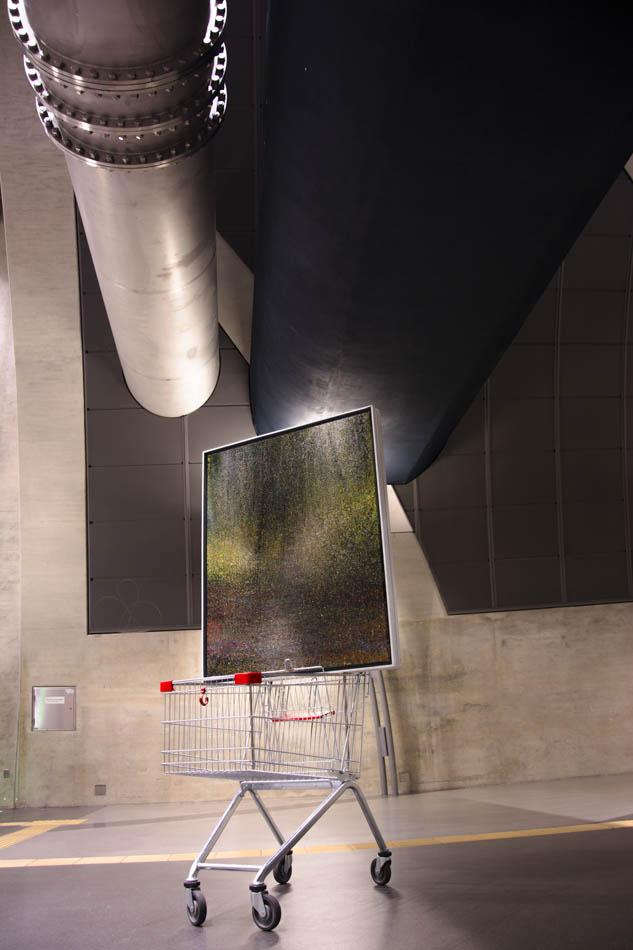 """David Komander, Installation, """"BORDERLINER"""", Cologne Heumarkt 2015, painting 100x125 oil/canvas, 2011"""