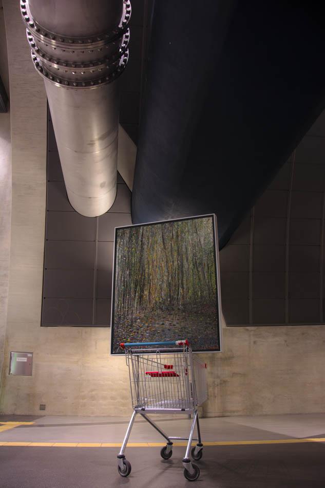 """David Komander, Installation, """"BORDERLINER"""", Cologne Heumarkt 2015, painting 100x125 oil/canvas 2011"""
