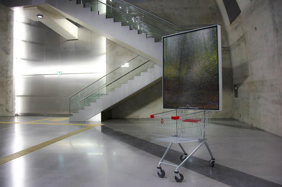 """David Komander, Installation, """"BORDERLINER"""", Cologne Heumarkt 2015, painting 100x125 cm, oil/canvas 2011"""