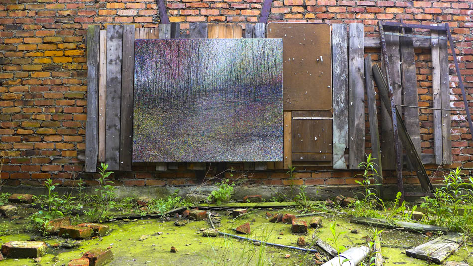 David Komander, Installation, Görlitz 2013, painting 150x180, oil/canvas 2011