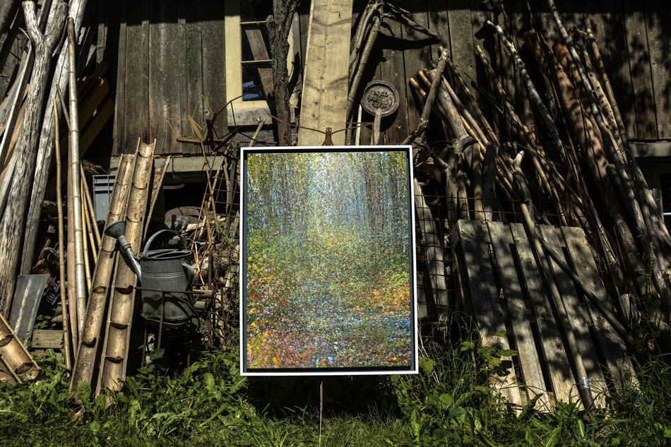 David Komander, Installation, Guggenloch Switzerland 2015, painting 90x70 cm, egg-Tempera/ canvas 2015