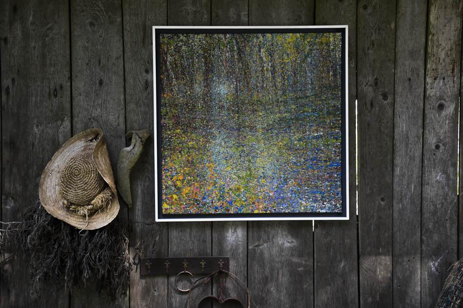 David Komander, Installation, Guggenloch Switzerland 2015, painting 90x70 egg-Tempera/ canvas 2015