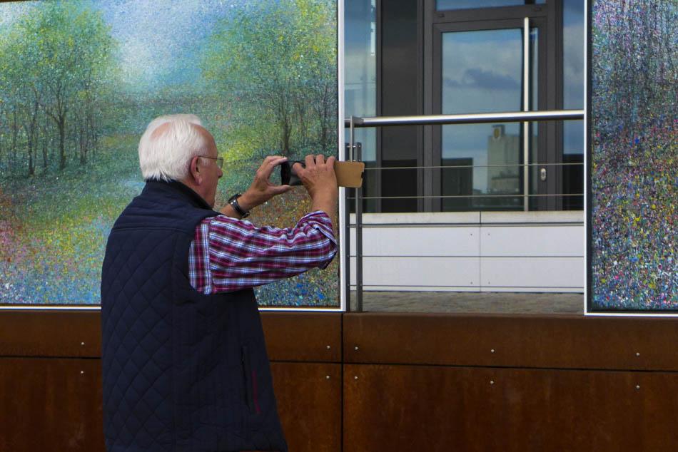 David Komander, Intervention Cologne Rheinauhafen opening 2014, paintings 150x180cm