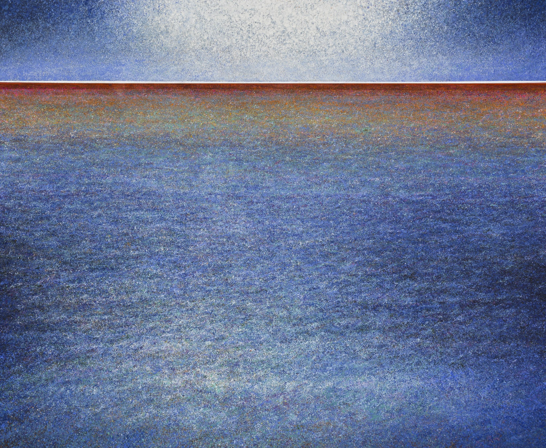 "David Komander,""UNTIEFE"" oil/silver-varnish canvas2,5 x 3m, 2016"
